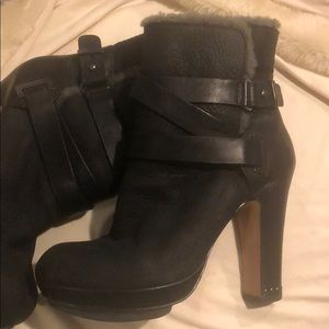 BCBGMAXAZRIA black furred leather booties